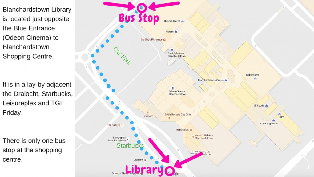 map of Dublin 15 Disability Peer Support Group Location showing walk from bus stop to library. On getting off bus - turn right and walk in direction of bus route as far as roundabout. Turn left at the roundabout and after about a hundred yards cross road at first zebra crossing. Continue walking on opposite side of the road where you will pass Leisureplex, TGI Friday, Starbucks, Dante Pizza and Draiocht Theatre on your right. The Library is the last building on this row.