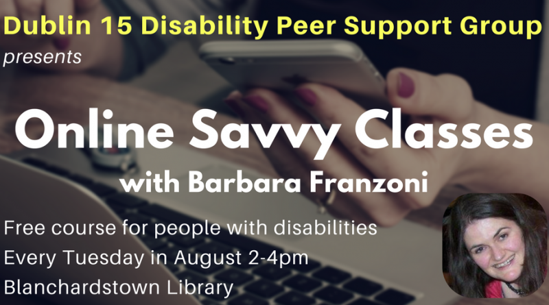 Online Savvy classes Barbara in Blanch Library at 2pm to 4pm every Tuesday in August